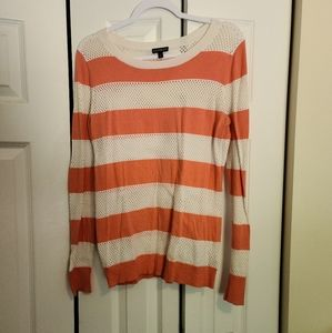 Express Coral & White Sweater